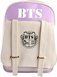 Korea BTS Laptop Travel PU leather Backpack,High College School water resistant Bookbag for Women,Men,girls and boys,purple
