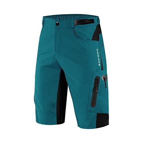 WOSAWE Men's Baggy Cycling Shorts Quick Dry Mountain Bike Bottoms with Waterproof Zipper Pockets, Blue L
