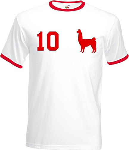 Camiseta para hombre WM Peru con nombre y número, en varios colores Blanco XL