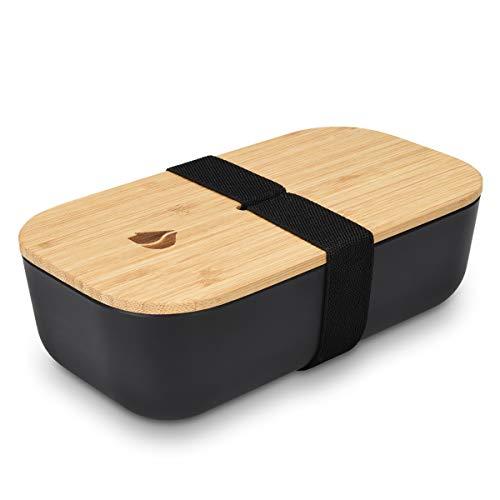 Navaris Bento Box Lunchbox mit Bambus Deckel - Brotdose 1 Fach 700ml luftdicht - Brotbox für Kinder und Erwachsene - Gummiband Verschluss - Schwarz