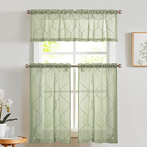 Vangao Kitchen Curtains and Valances Set Green Kitchen Curtains 3 Piece Set 36 Inch Length Embroidered Moroccan Trellis Pattern Light Diffusing Sheer Kitchen Curtains Valances for Bathroom Sage