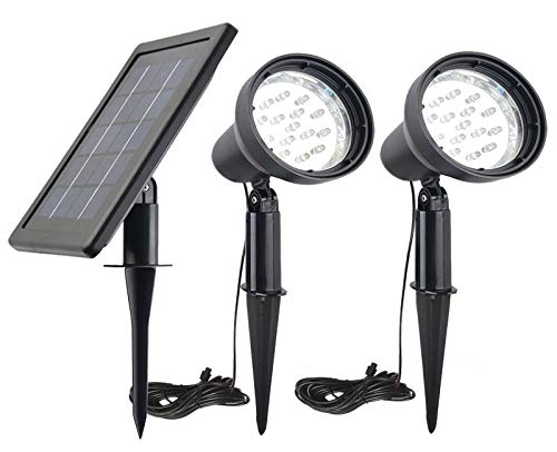 Solar Powered Spot Lights Outdoor Waterproof 2 in 1 Bright Solar SpotLights Power Adjustable for Flag Yard Flagpole Landscape Dusk to Dawn