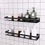 KES Bathroom Shelf 24 Inch Aluminum Shower Shelf with Railing No Drill Kitchen Storage Basket 2 Pack Rustproof Wall Mount Anodized Black, BSC409S60DG-BK-P2