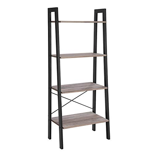 VASAGLE ALINRU Ladder Shelf, 4-Tier Bookshelf, Storage Rack Shelves, Bathroom, Living Room, Industrial Accent Furniture, Steel Frame, Greige and Black ULLS44MB