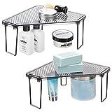 mDesign Corner Plastic/Metal Freestanding Stackable Organizer Shelf for Bathroom Vanity Countertop or Cabinet for Storing Cosmetics, Toiletries, Facial Wipes, Tissues, 2 Pack - Smoke Gray/Black