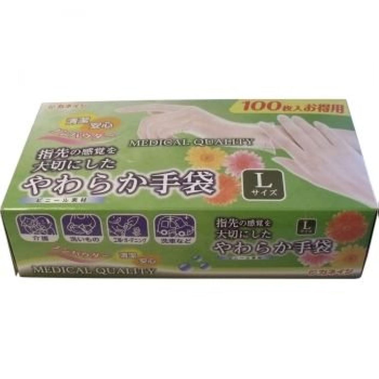 効果的になぞらえる菊やわらか手袋 ビニール素材 パウダーフリー Lサイズ 100枚入【3個セット】