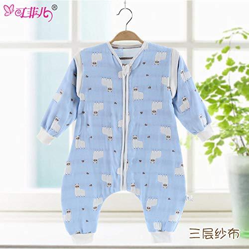 Baby Kid peuter fleece slaapzak, lente/zomer baby slaapzak met paddenstoelen-drielaags alpaca blauw_L 45 * 80, baby inbakerdeken kinderwagen wrap