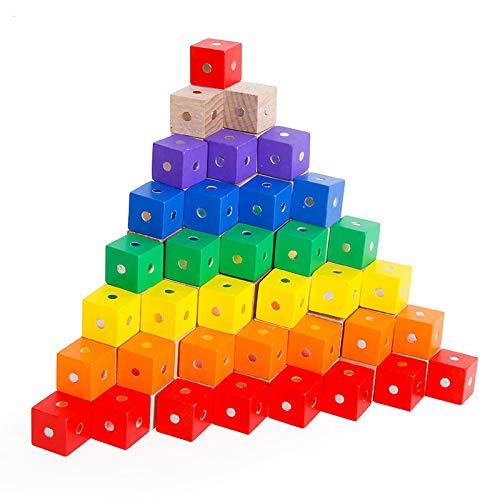 yqs Bloques de Construcción para Niños Juguetes del bebé Cuadrado Cubo Arco Iris Bloques magnéticos Juguetes de Madera para los niños Que construyen Bloques de Montaje Educativo