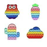 4 piezas Juguetes coloridos del relevista de estrés de silicona, Push Bubble Bubble Fidget Juguete sensorial, para el hogar, la escuela, la oficina, el partido, el juego para padres y niños (style-8)