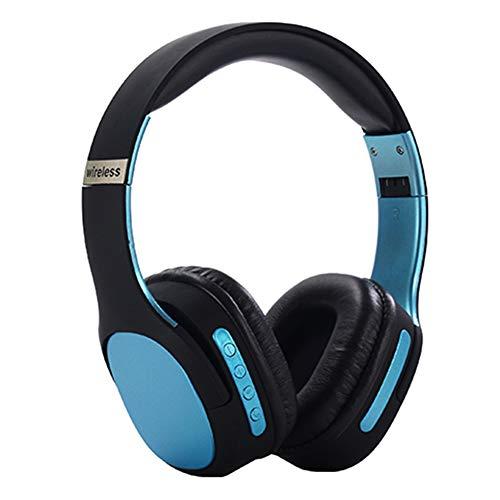 Wsaman Auriculares Estéreo, Cascos Bluetooth 5.0 Inalámbricos para DJ con Active Cancelación de Ruido para Celular/Running Dispositivi Bluetooth Earphones,Azul