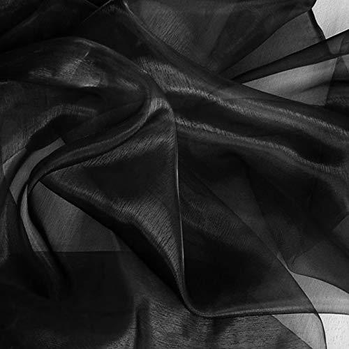 TOLKO 1m Organza Stoff als Dekostoff Meterware | Hauch Zart, Fein Durchsichtig zum Nähen Dekorieren Basteln | 145cm breit leichte Glanz Stoffe Gardine Vorhänge Tischdecken Deko Schals (Schwarz)