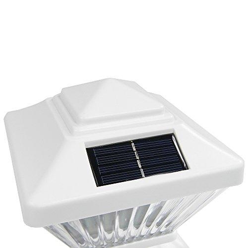 12 Pack White Outdoor Garden 4 x 4 Solar LED Post Deck Cap Square Fence Light Landscape Lamp Lawn PVC Vinyl Wood