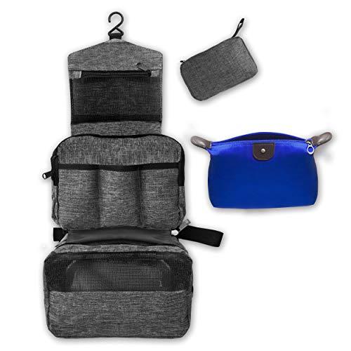Feps Set Beauty Case da Viaggio Appendibile per Uomo e Donna con Astuccio Porta Trucchi - 2 Tasche Traspiranti, 1 Tasca Impermeabile, 3 per Flaconi - 22x14x8 cm
