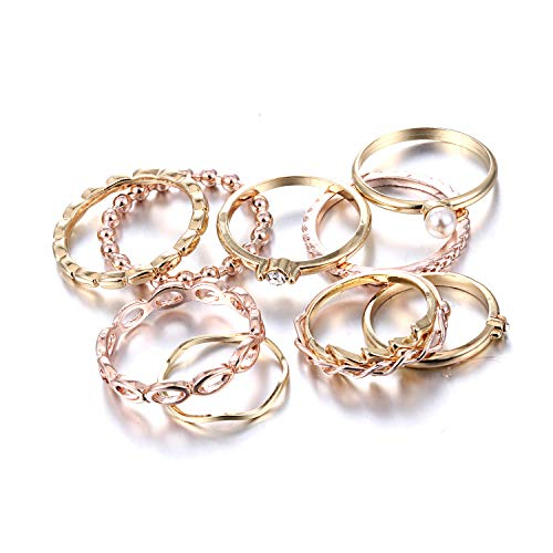 RINHOO FRIENDSHIP 10PCS Bohemian Retro Vintage Crystal Joint Knuckle Ring Sets Finger Rings (Gold)
