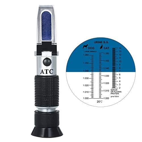 KKmoon Haustier Hund Katze Refraktometer Handheld Haustier Urin Spezifisches Gewicht 1.000~1.050 Klinisches Refraktometer mit ATC, Serum oder Plasma Protein Tester 0~12 g für Katze Hund Haustier