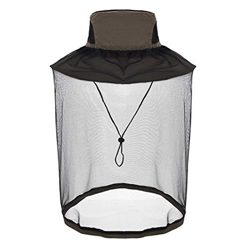 Mosquito Head Net Hat, Safari Hat Sun Hat Fishing Hats with Hidden Net (Army Green)