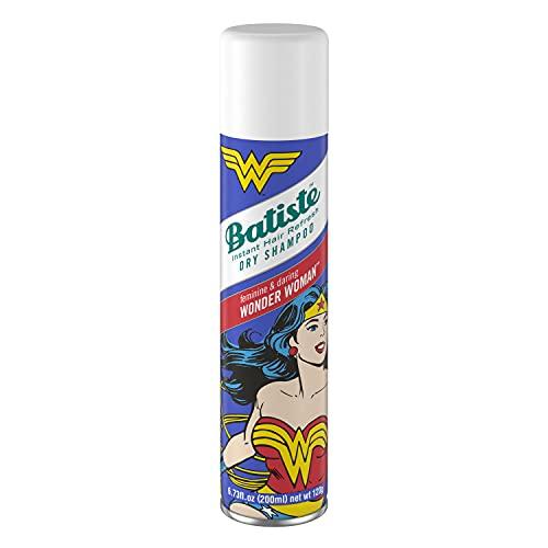Batiste Champú Seco Wonder Woman Edición Limitada, Sin Sulfatos - Champú Vegano y Ecofriendly, Con Aroma A Almizcle, Lirio, Rosa, Lavanda y Naranja - 200Ml 200 g