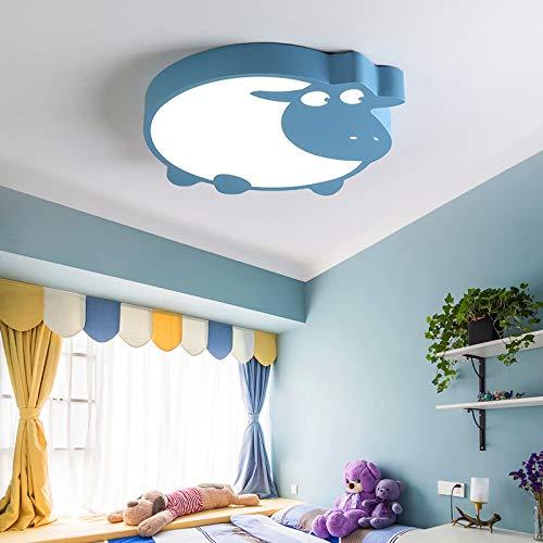 BIZHUAN Lámpara de Techo de Oveja de Dibujos Animados de niña 40 cm Moderna Minimalista Creativa lámpara de Dormitorio led nórdico niño habitación de los niños atenuación 16W