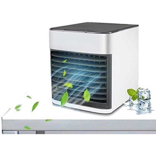 Ventilador De Aire Acondicionado Portátil, Enfriador De Aire Evaporativo De Escritorio Oscilante De 90 °, Con Luz Led De 7 Colores, 3 En 1, Humidificador, Con 3 Velocidades Para Oficina En Casa