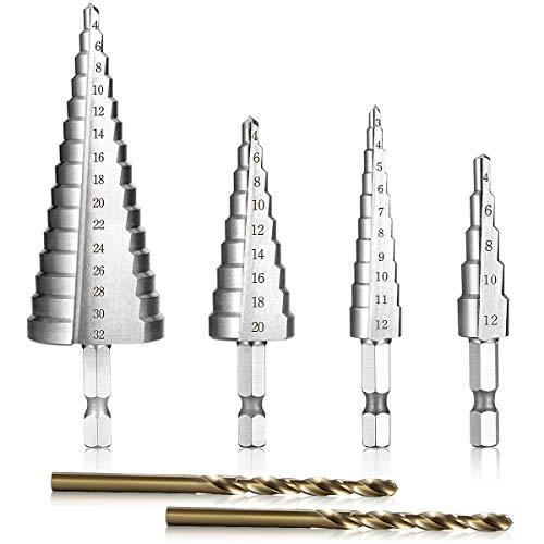 HSS Stufenbohrer Satz Set, Glunlun 4 tlg Hex Shank Schneiden Konusbohrer 2 Piece Twist Drill Bit, Conical Drill Bit Conical Drill for Edelstahl Metall Holz Kunststoff, 3-13/4-12/4-20/4-32 mm