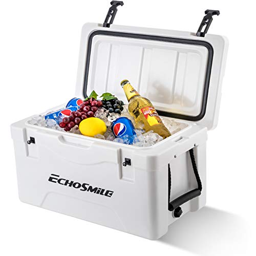 EchoSmile 40 Quart Rotomolded Cooler White Cooler Box, Portable Ice Cooler with Durable Handles, Cup Holders,5 Days Ice Chest, Great Gift for Outdoor Golf, Camping, Picnic, Sea Fishing