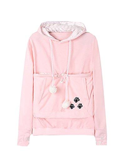 Carolilly Unisex Kapuzenpullover für den Winter, weich, warm, mit großer Kängurutasche für kleine Tiere Gr. XX-Large, Rosa