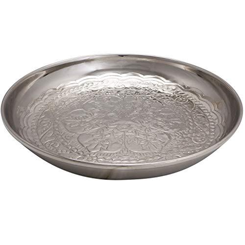 Orientalisches rundes Tablett Schale aus Metall Afet 31cm groß Silber | Orient Dekoschale mit hoher Rand | Marokkanisches Serviertablett Rund | Orientalische silberne Deko auf dem gedeckten Tisch