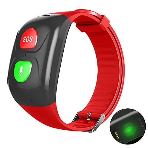 URJEKQ GPS Tracker Smart Watch para Ancianos 4G SOS Voice Chat GPS Tracker Watch para la Actividad de Adultos Fitters Tracker GPS para la Pulsera Impermeable,Rojo