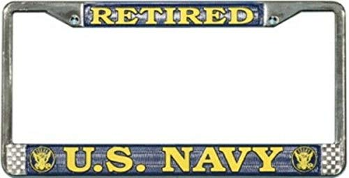 U.S. Navy Retired License Plate Frame Free Screw Caps Included