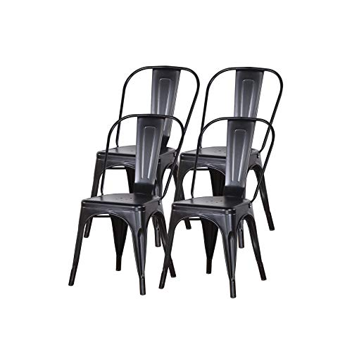 Uderkiny Lot de 4 chaises de Salle à Manger empilables Chaises en métal de Style Industriel, adaptées aux chaises de Balcon intérieures et extérieures, chaises de Jardin (Noir)