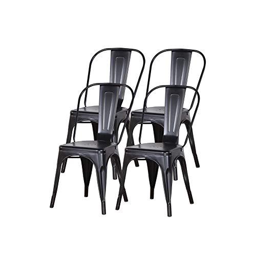Uderkiny Set di 4 sedie da Pranzo impilabili Sedie in Metallo Stile Industriale, Adatte per sedie da Balcone per Interni ed Esterni, sedie da Giardino (Nero)