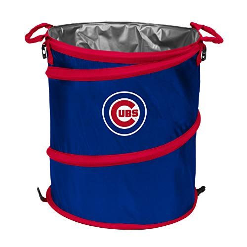 logobrands MLB Chicago Cubs Collapsible 3-in-1 Sporting Cooler Trash Can, Royal Blue/Red