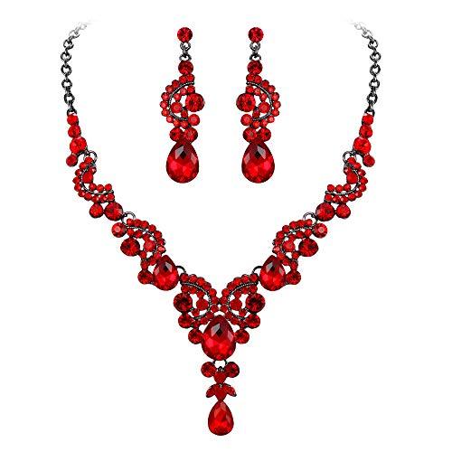 EVER FAITH Juegos de Joyas para Mujer Cristal Austríaco Boda Flor Oleada Collares Pendientes Conjunto Rojo Tono Negro