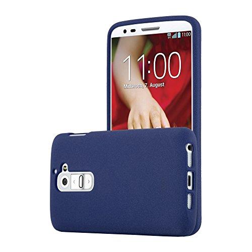 Cadorabo Custodia per LG G2 in FROST BLU SCURO - Morbida Cover Protettiva Sottile di Silicone TPU con Bordo Protezione - Ultra Slim Case Antiurto Gel Back Bumper Guscio