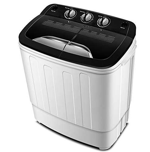 Think Gizmos - Portable Washing Machine with Drainage Pump - Compact Twin Tub Washer Machine with 7.9lbs Wash and 4.4lbs Spin Cycle Compartments