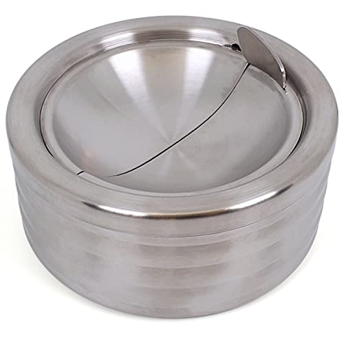 Grooved Silver Smokeless Classic Metal Ashtray with a Lid for Cigarettes - Windproof Ashtreys for Patio Outdoor Indoor Decorative Fancy Stainless Steel Ash Tray