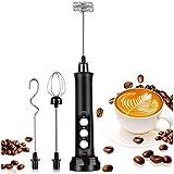 AOOPOO Montalatte Elettrico, 3 Velocità Regolabili Frullino Montalatte, Sbattitore Elettrico con 3 Bacchette per Mescolare, Montalatte per Cappuccino/Caffè/Latte/Uova