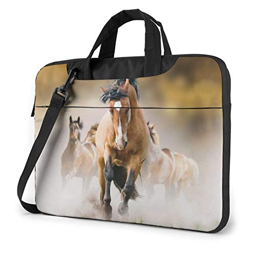 Laptop Shoulder Bag - Horses Printed Shockproof Waterproof Laptop Shoulder Backpack Bag Briefcase 13 Inch