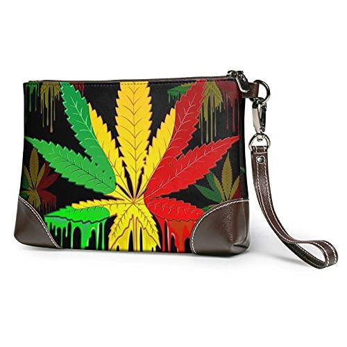 XCNGG Carteras de mano de hoja de marihuana Bolso de mano de cuero Cartera de mano Cartera de mano Monederos para mujer