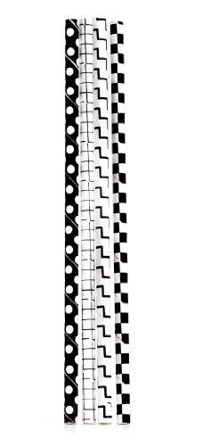 Kikkerland Paper Straws - Checkered Black and White Patterns - 144pk