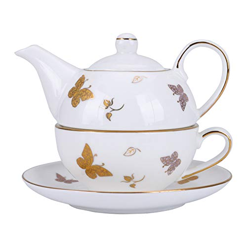 fanquare Gold Schmetterling Porzellan Tea for One Set, Kaffeetassen Set mit Teekanne, Tasse und Untertasse