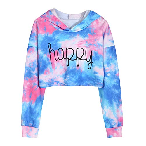 Janly Clearance Sale Tops para nias de 0 a 8 aos de edad, camisetas de manga larga, sudaderas con teido anudado, para 9 a 10 aos de invierno, Navidad, da de San Valentn (azul)