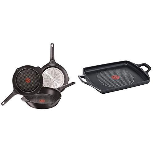 Tefal E215S3A Aroma- Sartenes de aluminio, con Antiadherente para Todo Tipo de Cocinas Incluido Inducción, Negro, 22, 24 y 26 cm, Juego de 3 + Aroma - Plancha 32 x 26 cm aluminio fundido