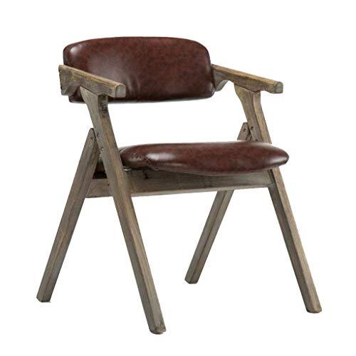 KAISIMYS Nordic - Silla de comedor de madera maciza, moderna, tejido minimalista, plegable, reposabrazos, silla de café (57 x 54 x 74 cm), color amarillo