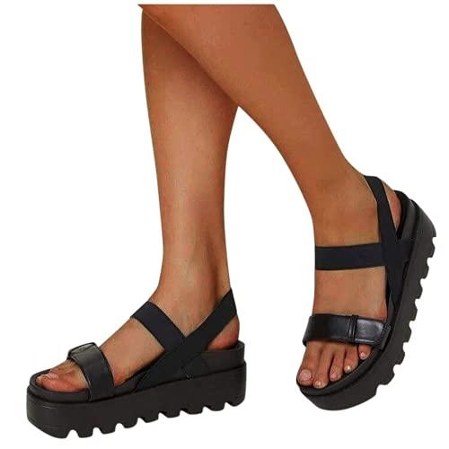 ZBYY - Sandali da donna con plateau, con zeppa e cinturino alla caviglia, con punta aperta, stile casual, per l'estate e la spiaggia