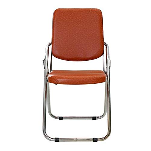 QIDI Chaise Pliante St Tabouret Pliant Chair Chaise d'ordinateur Chair Chaise de Formation Chair Chaise de Personnel Chaise Longue Art du Cuir , Ménage de Bureau de simplicité Moderne - Brun/Noir