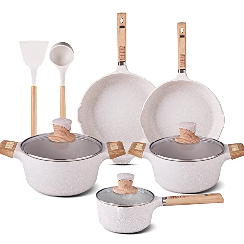 YIIFEEO Granite Cookware Sets, Nonstick Pans and Pots Set, 16 Pieces Non Stick Frying Pan and Saucepan Sets with Cooking Spatula & Spoon, Induction Compatible, Milky White