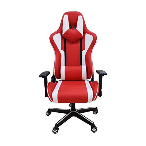 Silla multifuncional para juegos de carreras, ergonómica, de color rojo, con reposacabezas ajustable, soporte lumbar, seguro y duradero (color: rojo)
