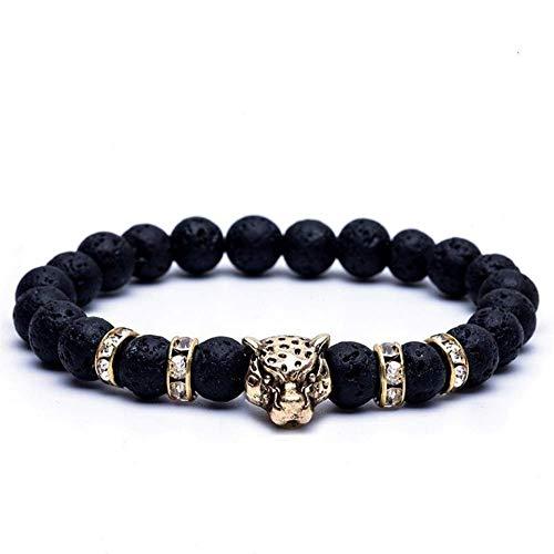 LIIYANN Unisex vulkanischen Lava Rock ätherisches Öl Diffusor Tiger Kopf Armband Perle Geschenk (Farbe: D) Geschenk