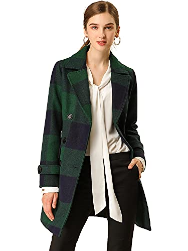 Allegra K Women's Buffalo Checks Double Breasted Notched Lapel Winter Long Plaids Trench Coat Small Green